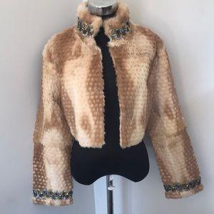 Jackets & Blazers - Vintage Fur Beaded Jacket